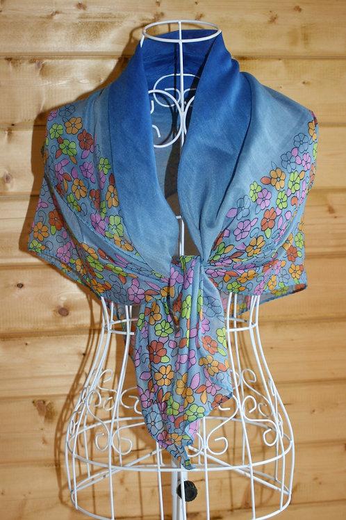 Blue Floral Vintage Scarf
