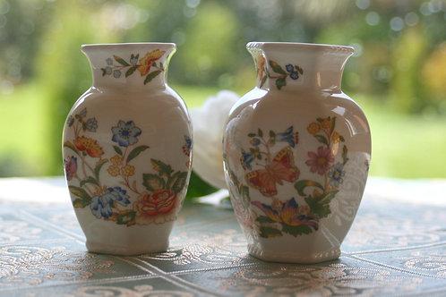 Vintage Pair of Bone China Aynsley Vases
