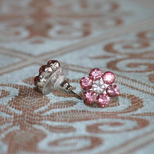 Pale Pink Gem Floral Earrings