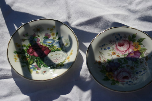 Pair of floral china plates