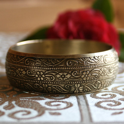 Vintage Brass Floral Bangle