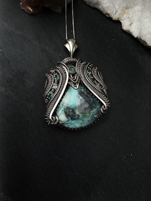 Blue Opal Wood Pendant