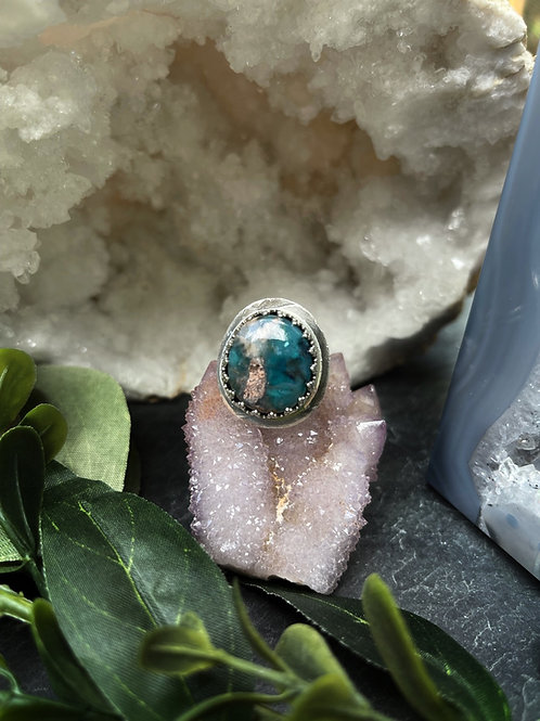 Needles Blue Agate Ring, Size 5.75