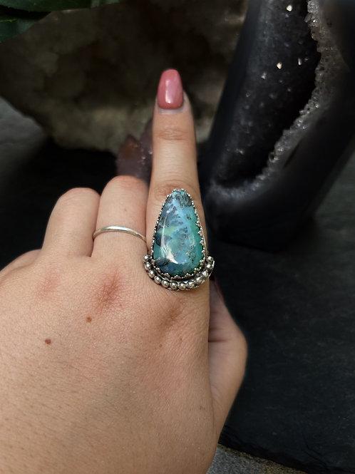 Blue Opal Wood Ring, Size 9.5
