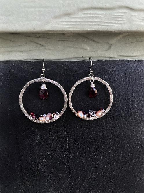 """Garnet """"Geode"""" Earrings"""