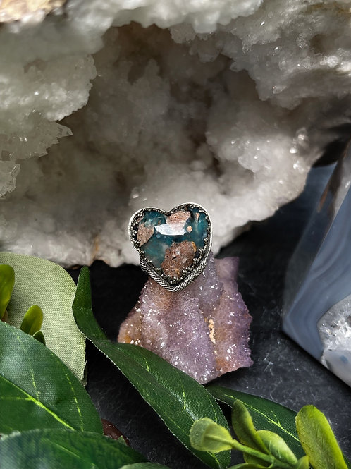 Needles Blue Agate Heart Ring, Size 8.5
