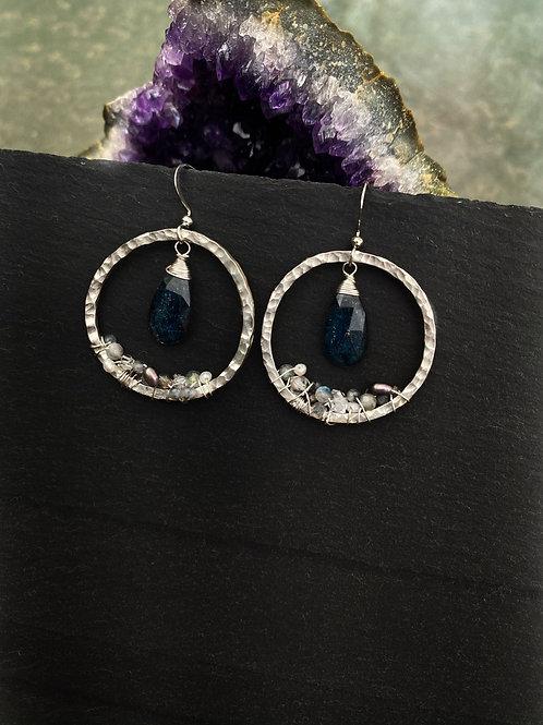 """Teal Blue Kyanite """"Geode"""" Earrings"""