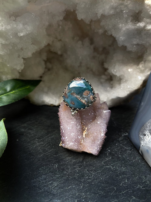 Needles Blue Agate Ring, Size 8.5