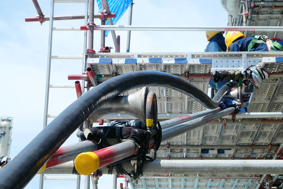 Workers pulling high voltage cable line
