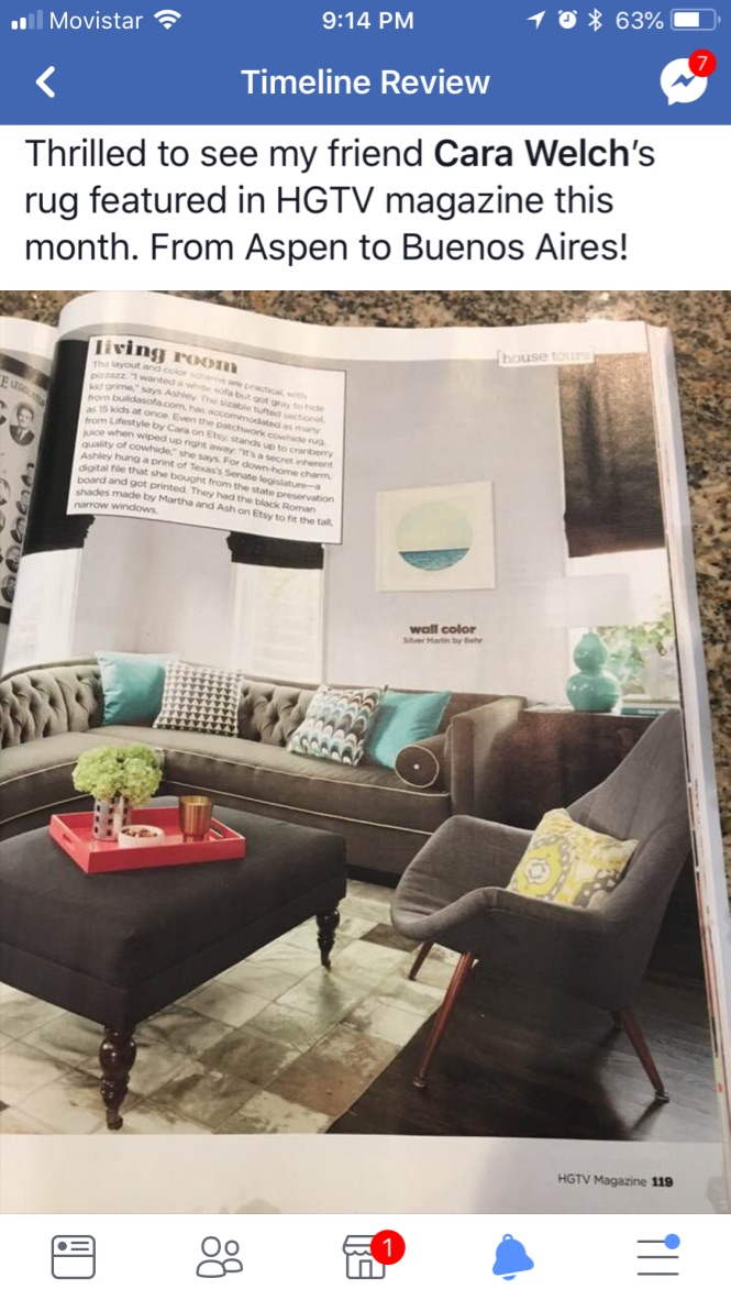 Boedo cowhide rug in HGTV magazine