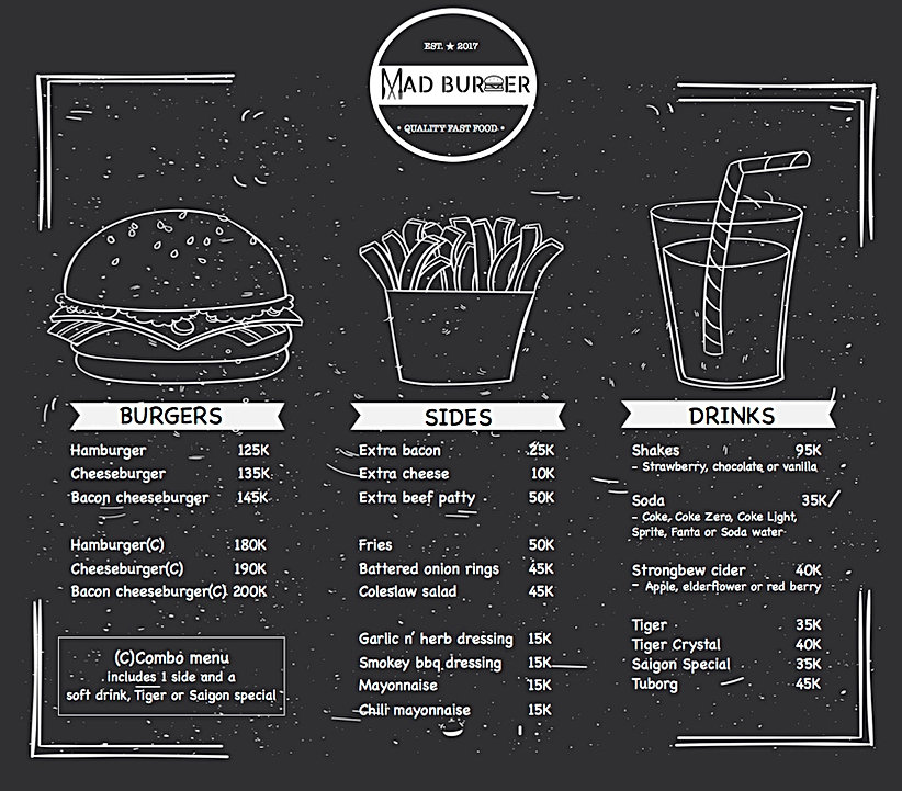 MAD Burger Saigon menu