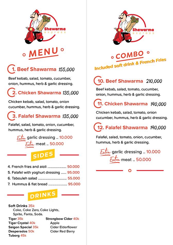 Saigon Shawarma Express menu