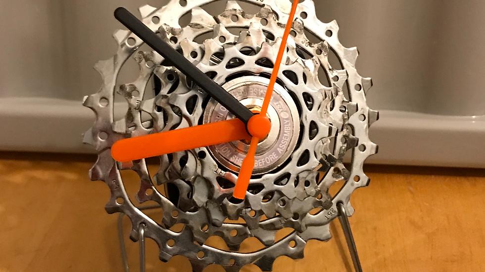 Custom made bike cog desk clock on spoke stand