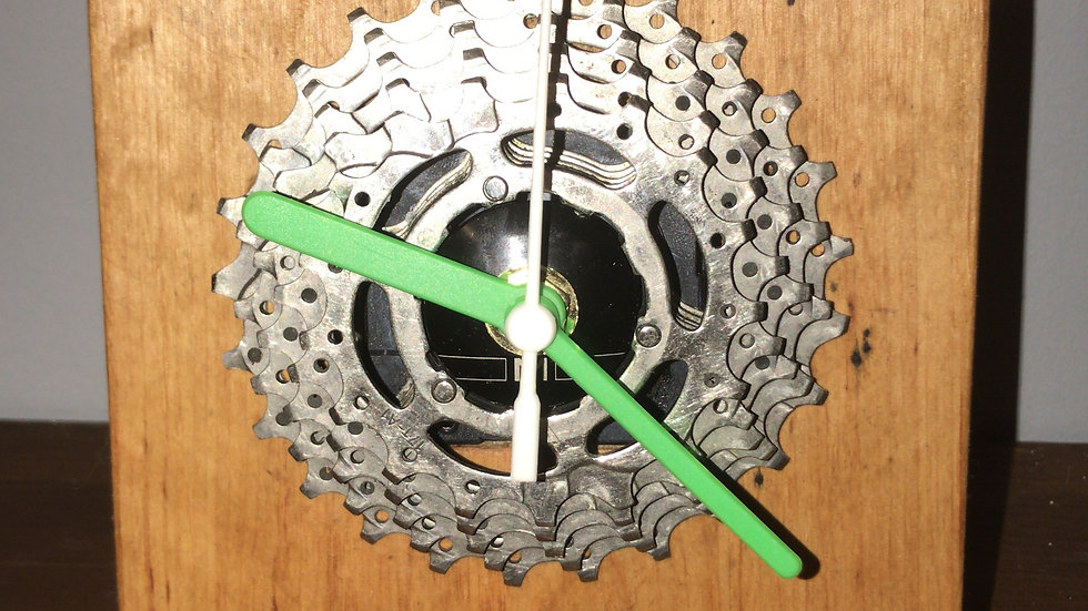 Custom made bike cog desk clock with square wood stand