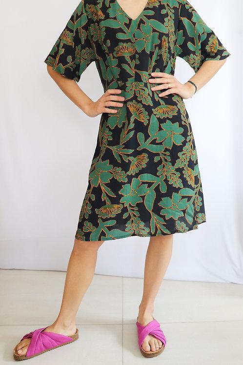 'Outlined Big Flower' Short Length Dress