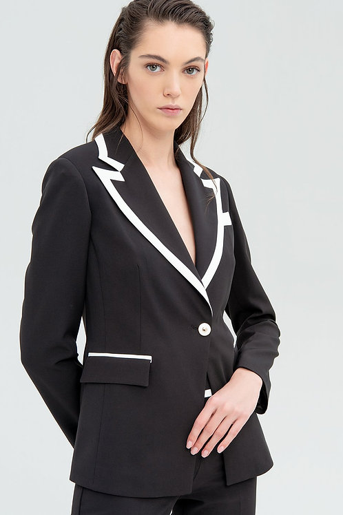 Contrast Jacket Black Off White