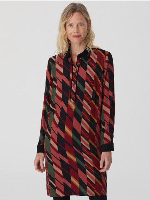 Mixed stripe print shirt dress