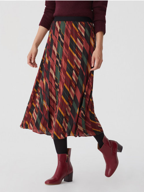Mixed stripe print pleated skirt