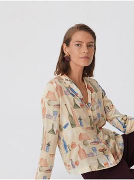 Morandiana print satin shirt