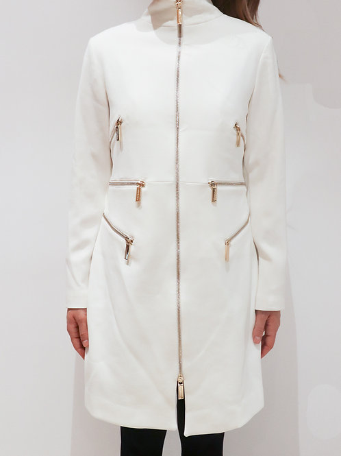 All White Coat with Gold Details
