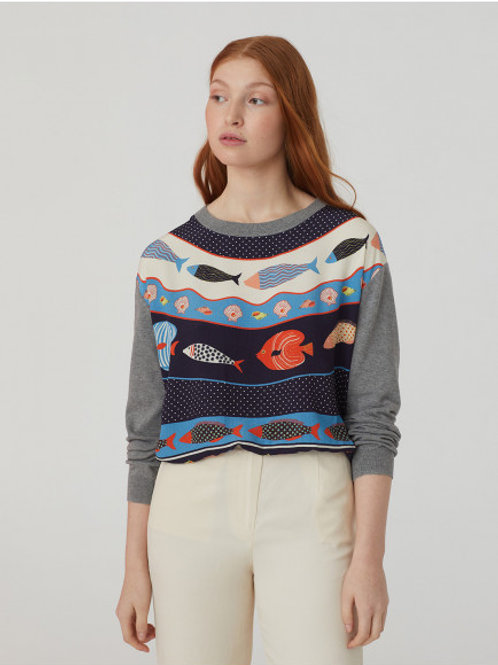 Round neck jumper with print