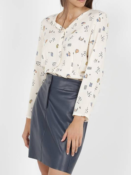 Astral print pleated top