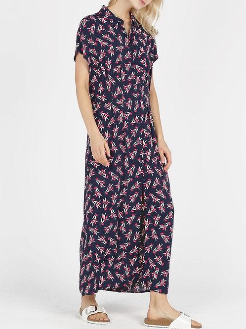 Olive Twig Print shirt midi dress