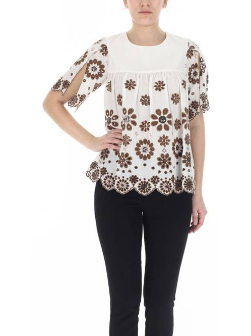 Flare Top Off White Brown