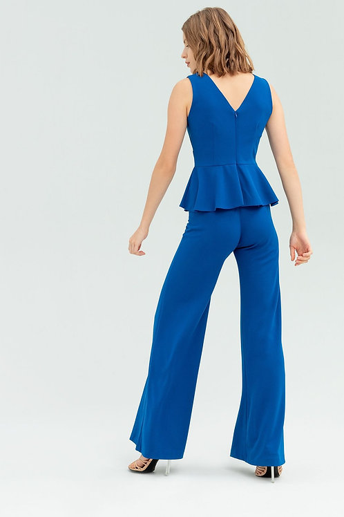 Jumpsuit with peplum and tears