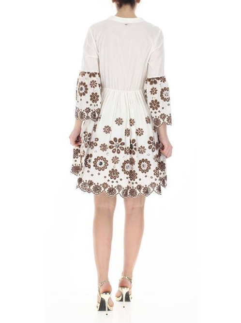 Flare Dress Off White Brown