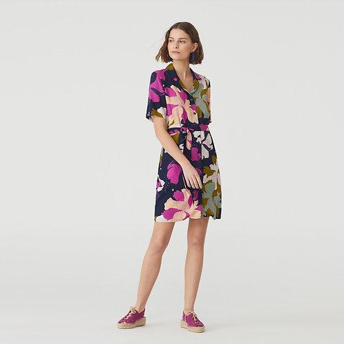 Big Nature Print Shirt Dress