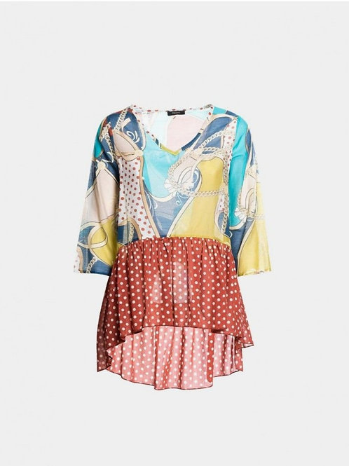 Printed Flare Blouse Mix Fantasy Earth
