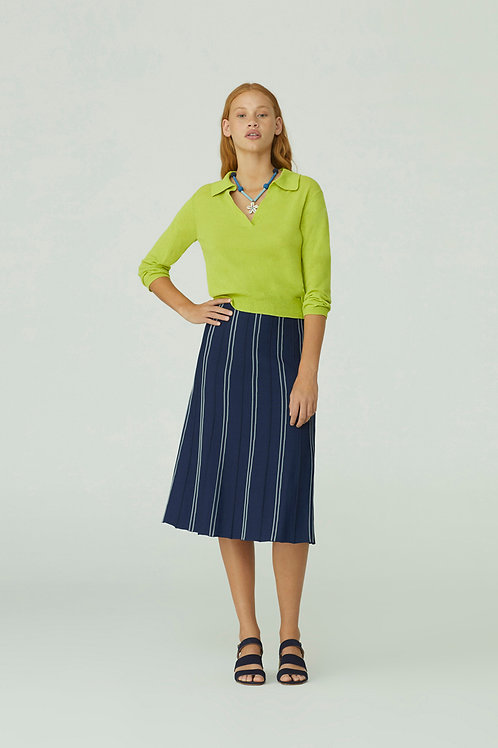 Long Skirt With Contrast Piping