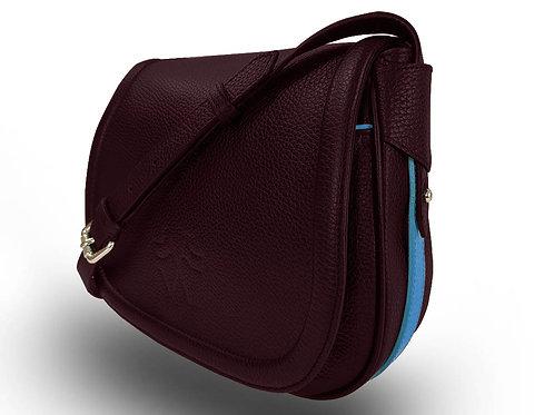 Leather Handbag - Vue Lac - Burgundy - Light Blue Outlines