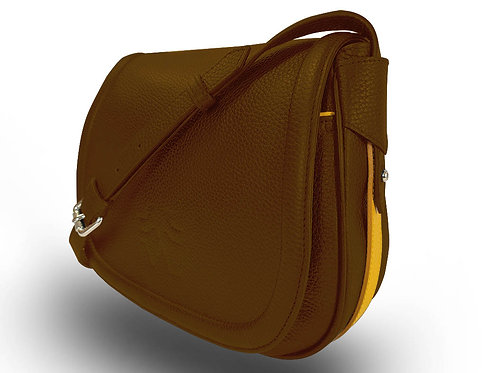 Leather Handbag - Vue Lac - Light Brown - Yellow Outlines