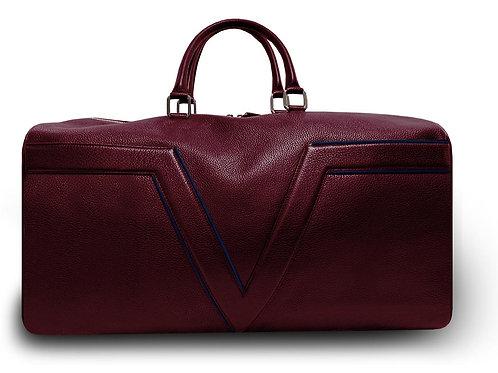 Burgundy Leather Travel Bag VLx - Dark Blue Outlines