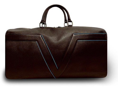 Large Leather Brown VLx Travel Bag - Blue Outlines