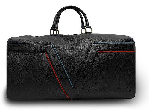 Large Leather Black VLx Travel Bag - Red & Blue Outlines