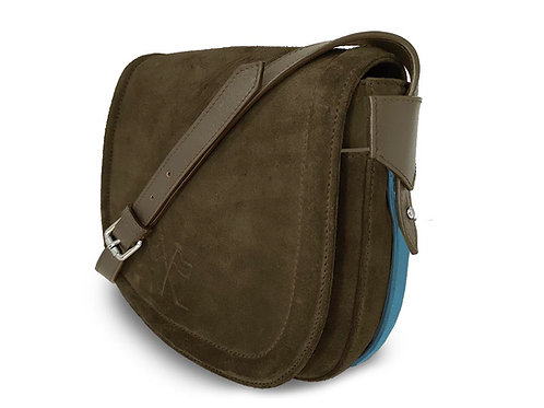 Nubuck Leather Handbag- Vue Lac - Khaki- Light Blue Outlines