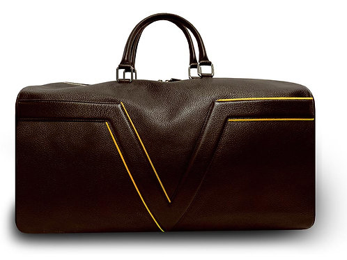 Dark Brown Leather Travel Bag VLx - Yellow Outlines