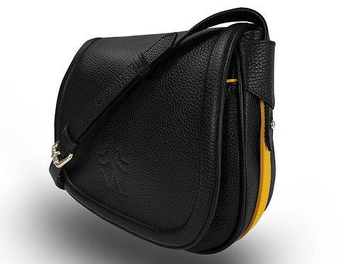 Leather Handbag - Vue Lac - Black - Yellow Outlines