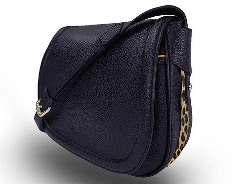 Leather Handbag - Vue Lac - Dark Blue - Leopard Outlines