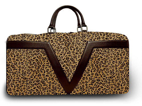Large Leather Leopard VLx Travel Bag - Brown Outlines