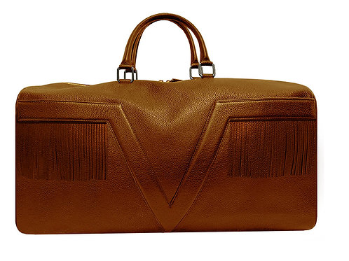 Large Leather Brown VLx Travel Bag  with fringes - Yellow Outlines