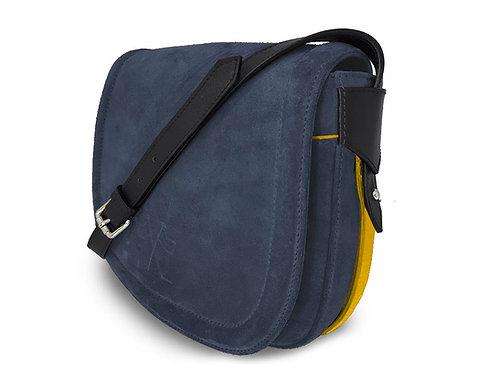 Nubuck Leather Handbag- Vue Lac - Denim - Yeloow Outlines