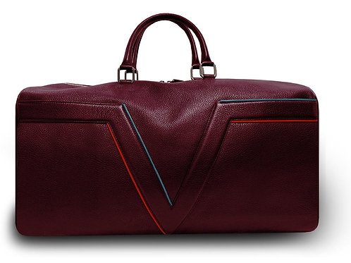 Large Leather Burgundy VLx Travel Bag - Red & Blue Outlines