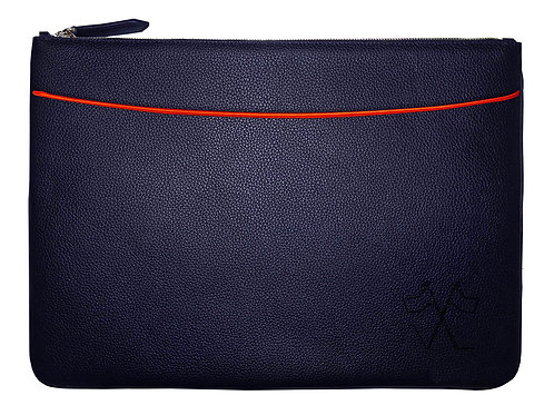 Laptop sleeve with front pocket Navy Blue, Red outlines 38cm