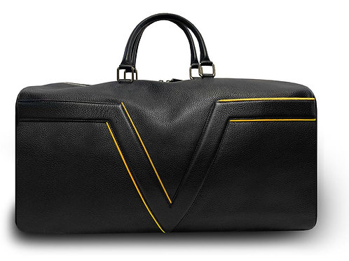 Black Leather Travel Bag VLx - Yellow Outlines