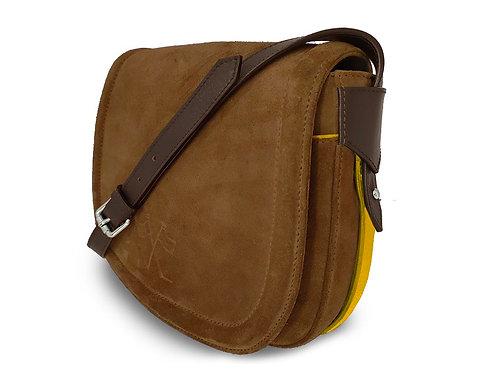 Nubuck Leather Handbag - Vue Lac - cognac - Yellow Outlines
