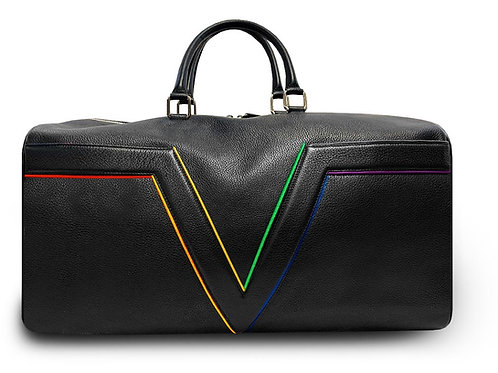 Black Leather Travel Bag VLx - Rainbow Outlines